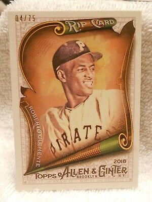 2018 Allen & Ginter Roberto Clemente Rip Card #04/75-Rip-93 Unripped