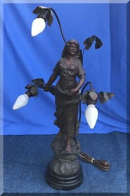 Antique Spelter Signed Figural Art Nouveau 3-Light French Semeuse Female Sower