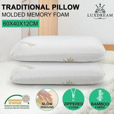 NEW 2x Queen Size Luxdream Classic Molded Memory Foam Pillow with Bamboo Cover