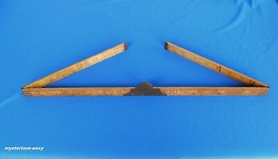 Vintage RABONE BOXWOOD No 1380 BRASS & WOOD FOLDING RULER ~ MADE IN ENGLAND