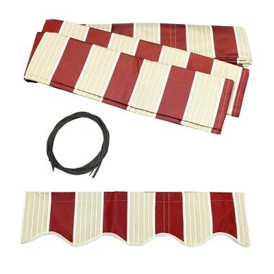 ALEKO Fabric Replacement For 12x10 Ft Retractable Awning Multistripe Red Color