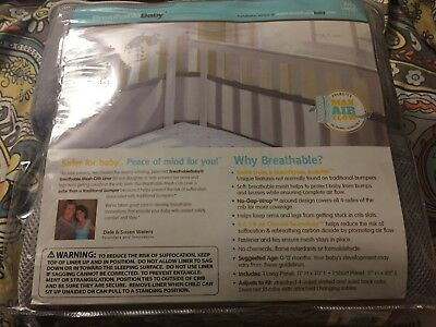 Breathable Baby Breathable Mesh Crib Liner Gray Helps Prevent Suffocation