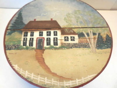 Wood Box - Painted Round Wood Box - Cheese Box - Colonial House Theme - V Nice!