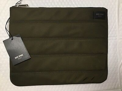 d36d05bb37 Jack Spade Quilted Nylon Large Cord Pouch Navy Olive Toiletry Kit Dopp Bag   88