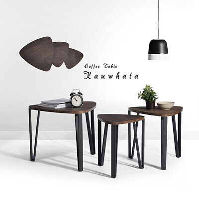 Set Of 3 Wood Coffee Table Nest Retro Industrial Side End Table Triangle Desk