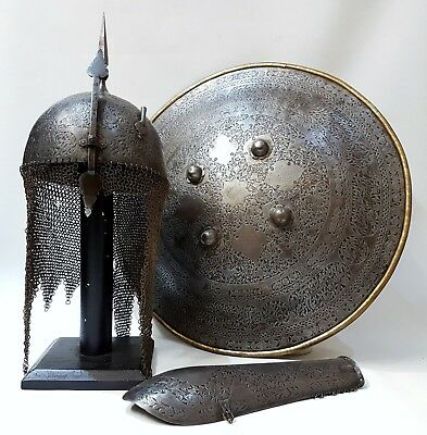 ANTIQUE 19TH CENTURY PERSIAN QAJAR ISLAMIC HAND CHISELED STEEL ARMOUR SET C1820s