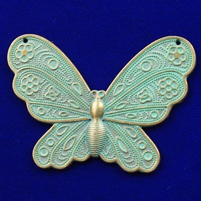 N15483 Carved Brass Bronze Butterfly Pendant Bead 59x45x1mm