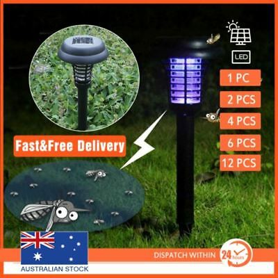 12x LED Solar powered Insect Killer Mosquito Zapper Bug Fly Outdoor Light Trap