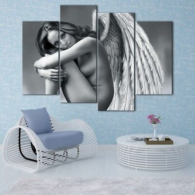 Black and White Angel Painting 4PCS HD Canvas Print Home Decor Wall Art Picture