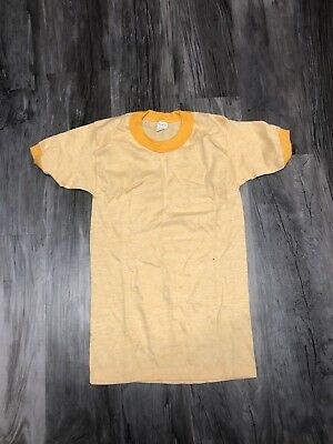 Vintage 1970s Kids Ringer T Shirt Tri Blend Size XL Yellow 18-20 New Blank
