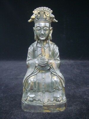 "Fine Old Chinese Official Man Figure Gilt Bronze Statue ""WanLi"" Marks"