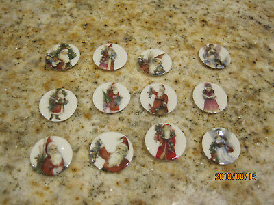 """9 Miniature Dollhouse Christmas Plates With Old World Santas 1"""" + 3 Angels"""