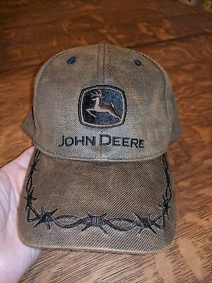 John Deere Country Brown Hat Barbwire, Excellent Condition, Adjustable Size