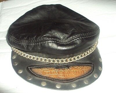Vintage  HARLEY DAVIDSON Motor Cycles Leather Bikers Cap Hat Chain -SMALL-MEDIUM