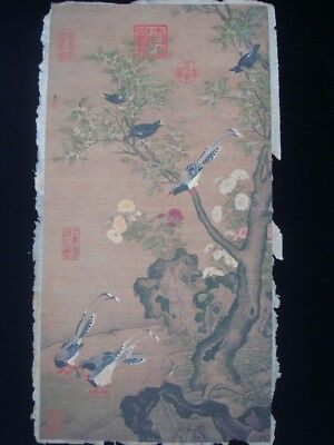 Very Large Old Chinese Paper Painting Flowers and Birds Marks