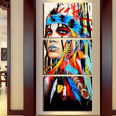 Home Native American Girl Feathered Wall Decor Canvas Picture Art HD Painting
