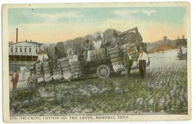 1919 Memphis Tennessee Trucking Cotton On The Levee - massive load of bales