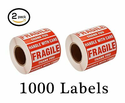 2 Rolls 500 Per Roll 2x3 FRAGILE Handle with Care Shipping Labels / Stickers