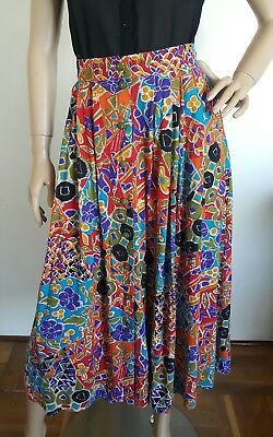 Vintage Retro printed and pleated skirt. Size 10. Made in  Australia