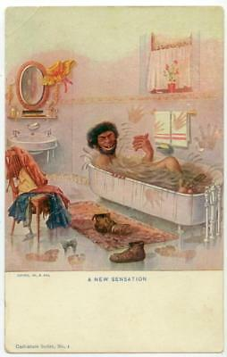 1906 fascinating hobo or caveman taking a bath - R Hill, Caricature Series No. 1