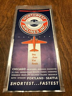 Northwest Airlines Inc Timetable 1943
