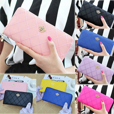 US Women Clutch Leather Wallet Long Card Holder Phone Bag Case Purse Handbags