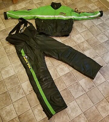 Vintage Leather Arctic Cat Snowmobile Jacket Coat & Bibs Pants Full Zip Green AC