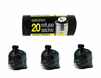 2X25 Pack Of Strong Heavy Duty Black Refuge Rubbish Sack Liner Bags For Wheelie Bins.
