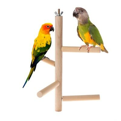 Natural Wood Parrot Perch 4 Layer Stages Toys Rotating Ladder Bird Parakeet Cage