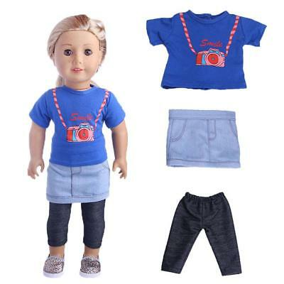 Tops+Skirt +Leggings Three-piece Suit Clothes Set for 18inch American Girl Doll