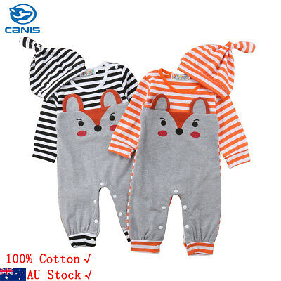 AU Stock Newborn Baby Girl Boy Fox Romper Bodysuit Jumpsuit Hat Clothes Outfits