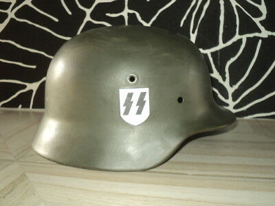 "Professionally Refurbished Original Wwii German M40""ss D.""helmet With Decals"