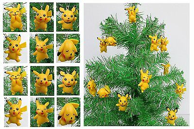 Pokemon PIKACHU Christmas Ornaments Set 12 adorable Pikachu Ornaments.