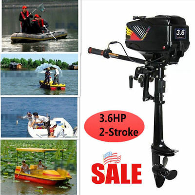 2 Stroke 3.6HP Heavy Duty Boat Engine Outboard Motor w/ Water Cooling System