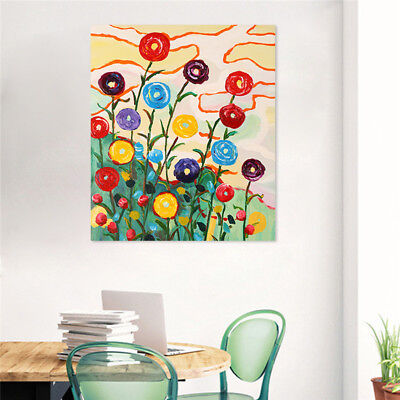 Modern Abstract Pure Hand-painted Flowers  Oil Painting Canvas Frame