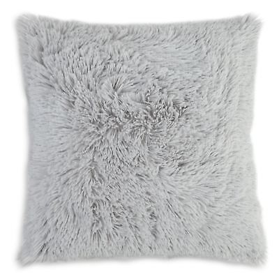 "Silver Faux Fur Cushion Cover Soft and Cuddly Shaggy 17x17"" (43x43cm)"