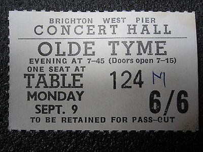 WEST PIER CONCERT HALL TICKET FROM 1969 (BRIGHTON, SUSSEX) DOUBLE SIDED (i360)