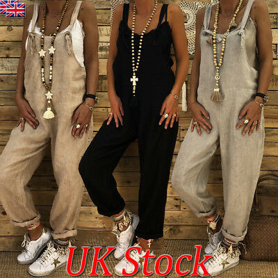 UK Womens Casual Strappy Linen Long Pants Jumpsuit Overall Ladies Loose Playsuit