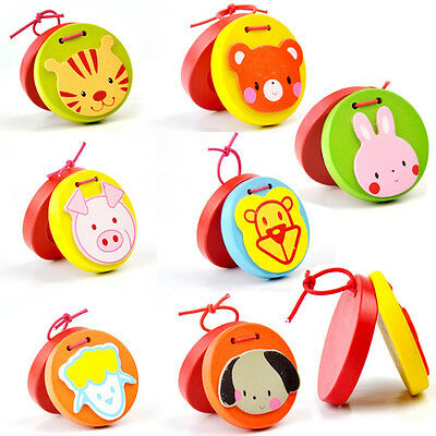 Cartoon Castanets Infant Wooden Musical Toy Instrument Educational Kids Toy AU