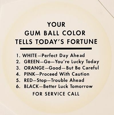 Your Gum Ball Color Tells Today's Fortune.vending, Water Slide Decal # Df 1007
