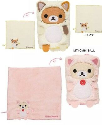 Lot 2 Japan San-X Rilakkuma Korilakkuma Cat Mini Roll up Towel Cute Kawaii Ne...