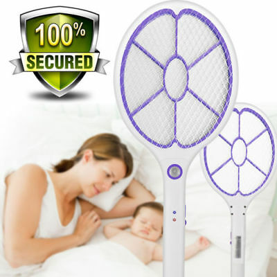 Rechargeable Power Swatter Mosquito Fly Electric Bug Zapper Killer Pest Control