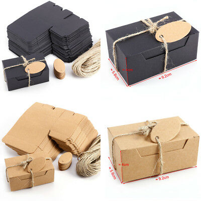50 x Wedding Favour Boxes Gift Box Candy Box Cardboard & Paper Tag Black Color