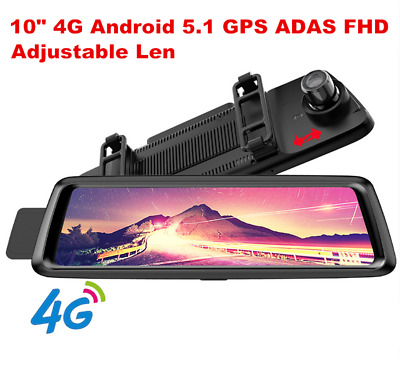10'' 4G WiFi Bluetooth Android 5.1 Car GPS Navigation Rearview Mirror DVR Camera