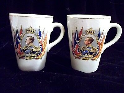 1937 Coronation King Edward Viii Twin Coffee / Tea Cups / Mugs. Made In England