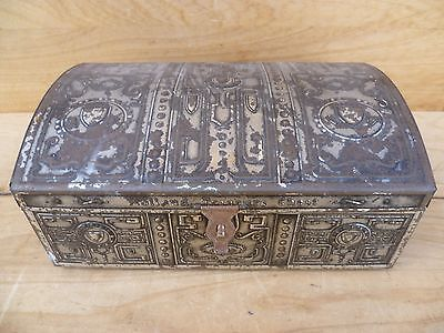 Vintage Old Large Size Tin Treasure Chest Old Dutch Tin (D697)