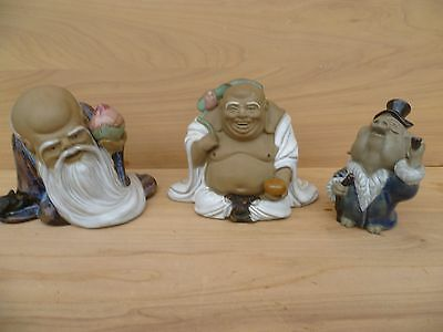 Vintage Old Lot Of 'x3' Asian Japanese Buddha Figures, (E760)