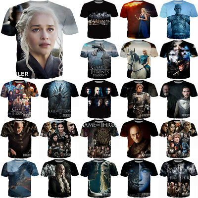 Game of Thrones Print Women/Men Funny 3D T-Shirt Casual Tee Top Short Sleeve T50