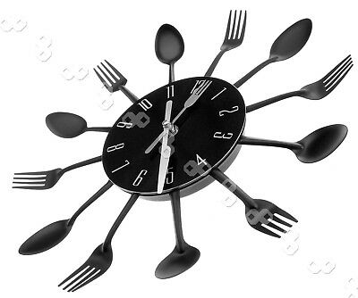 Modern Black Cutlery Retro Wall Clock Fork & Spoon Kitchen Decoration New SY