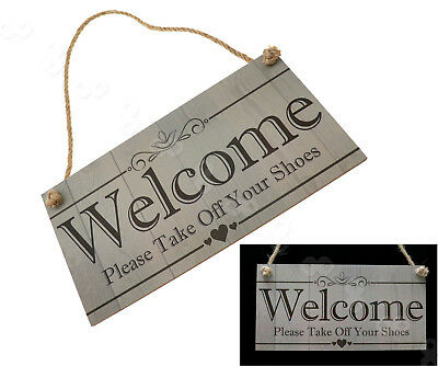 Welcome Please Take Off Your Shoes Wooden Wall Plaque Wall Art Craft Sign Design
